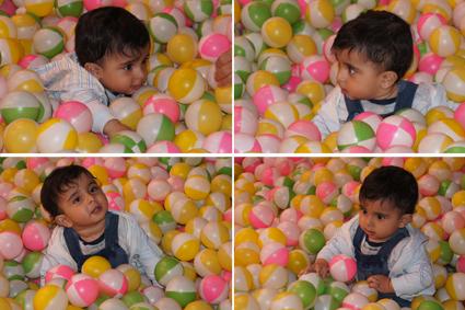 رایین در استخر توپ